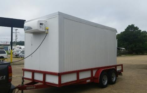 GOVI USA Cooler Trailer on flatbed trailer