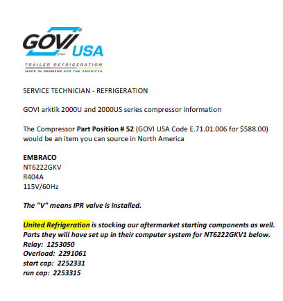 GOVI 2000US Compressor Specification